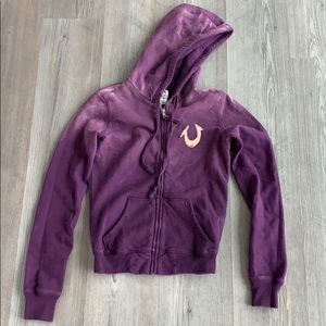 true religion tie dye purple hooded zip sweatshirt